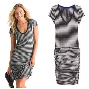 Athleta Ruched Striped Dress